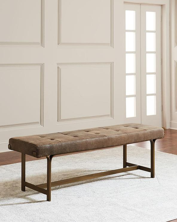 Dark Brown Leather Aluminum Frame Bench