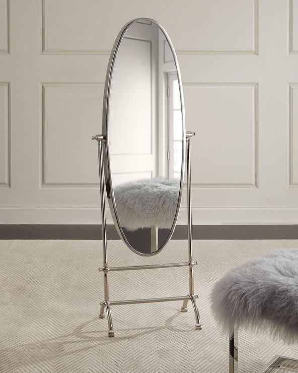 Upon Reflection Oval Steel Floor Mirror