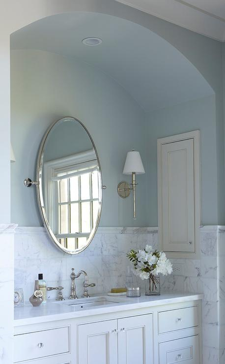 Arched Bath Vanity Nook With Blue Walls Transitional Bathroom