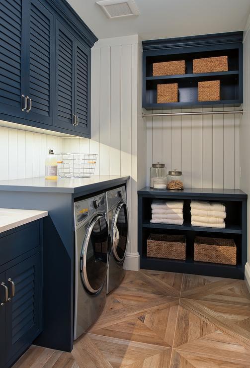 White Shiplap Laundry Room Wall Trim Design Ideas