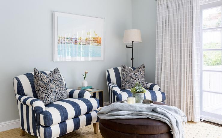 Navy Blue Striped Roll Arm Chairs With Iron Floor Lamp