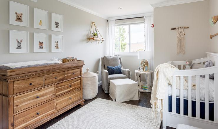 White And Gray Boys Nursery With Antiqued Dresser