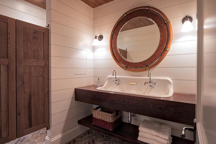 Stained Oak Floating Cabin Style Bath Sink
