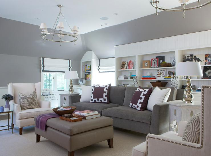 Dark Gray Sofa with Purple Greek Key Pillows - Transitional - Living ...