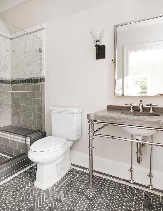 Black Herringbone Bath Floor Tiles Transitional Bathroom