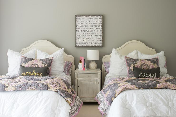 Cream Shiplap Headboard With Pink And Gray Bedding