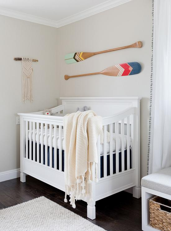 Boy Nursery With Decorative Oars On Wall Transitional