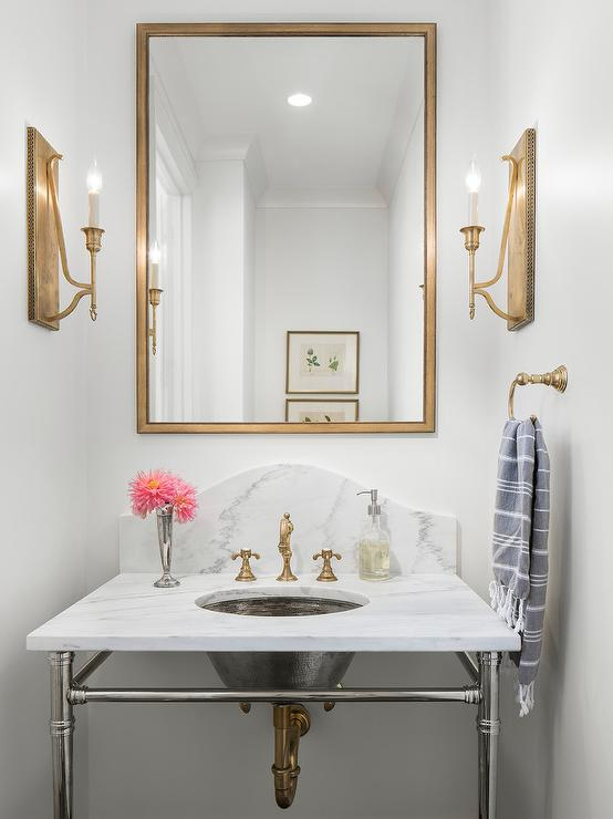 Beau Rectangular Gold Mirror Over Marble Sink Vanity