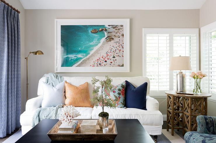 White Sofa With Turquoise Velvet Pillows Cottage