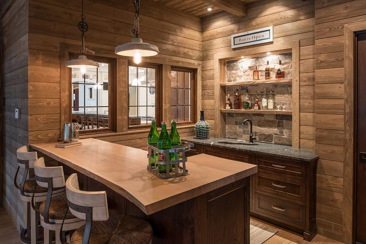 Cabin Style Live Edge Wet Bar Country Kitchen