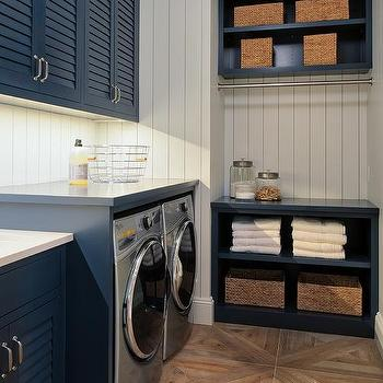 Superieur Blue Shutter Laundry Room Cabinets With Parquet Wood Like Tiles