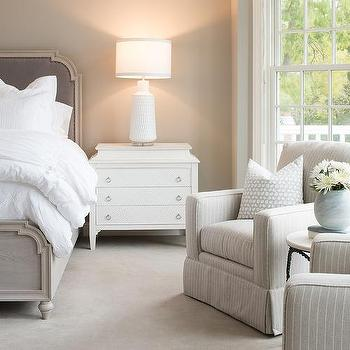 Gray Wood And Velvet Bed With White Nightstand