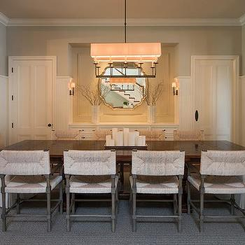 Linear Linen Drum Chandelier With Long Dark Stained Dining Table