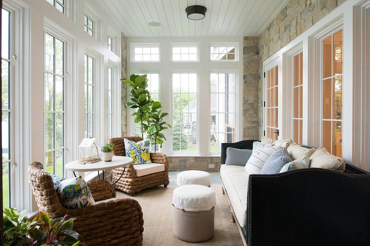 Sunroom with Black Leather Camelback Sofa - Cottage - Deck/patio