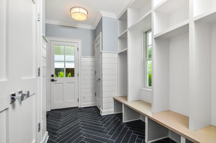 Dark Gray Slate Thin Herringbone Mudroom Floors - Transitional ...