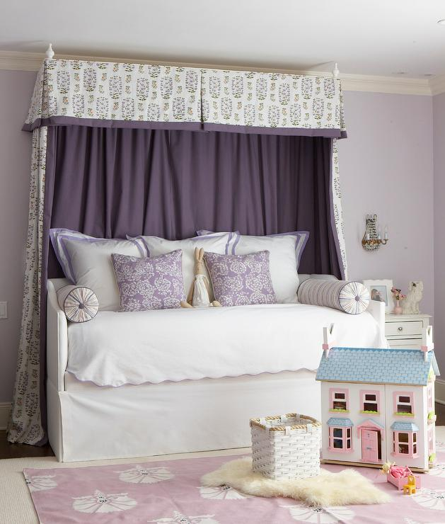White Upholstered Daybed with Purple Curtains - Transitional ...