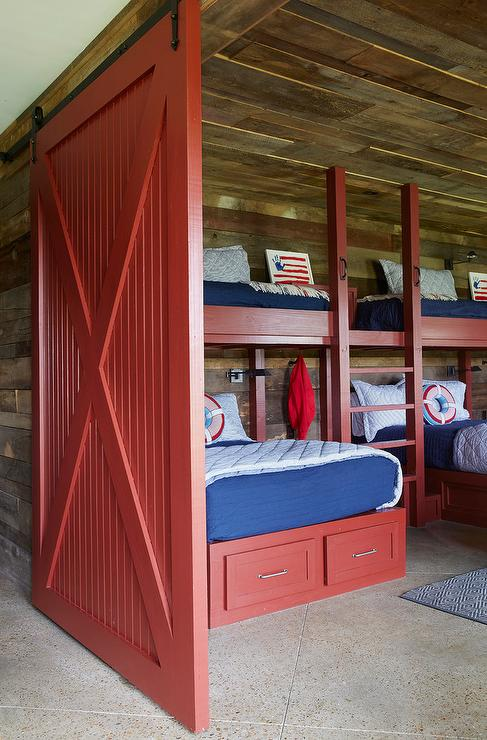 Red Barn Door On Rails Country Boys Room