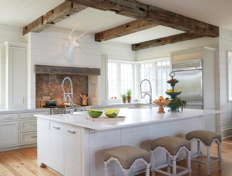 Country Kitchen With Rustic Wood Ceiling Beams Country Kitchen