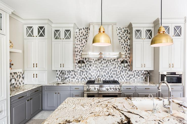 Gray Lower Cabinets And Ivory Top Cabinets Contemporary Kitchen - Gold kitchen pendant lights