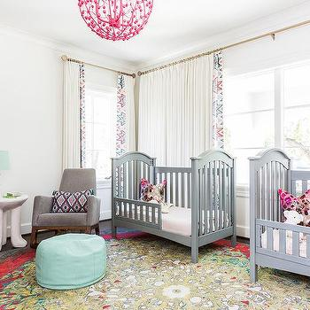 pink and gray twin girls nursery colors design ideas