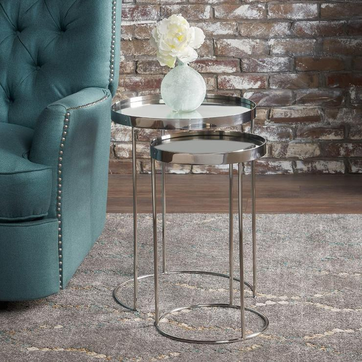 Stylecraft Barclay Brass 3 Piece Living Room Accent Table: Amazon.com: Round Mirrored Side Accent End Tables