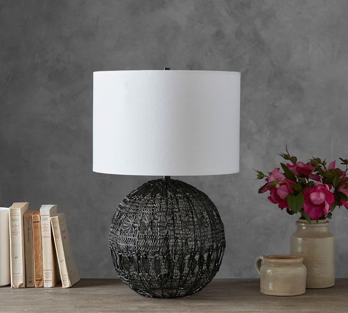 Black woven wire table lamp penelope black woven wire table lamp greentooth Gallery