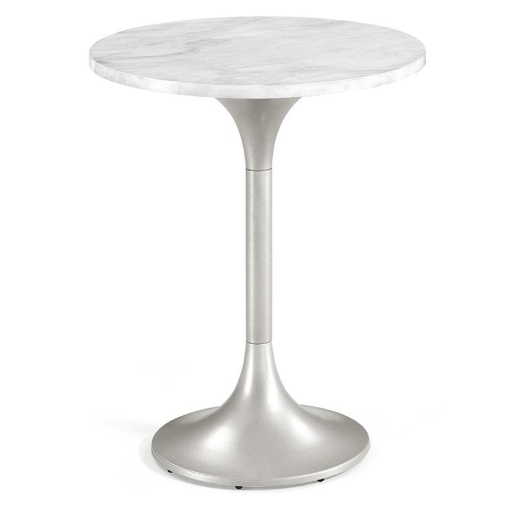 Tulip Silver Marble Top Side Table