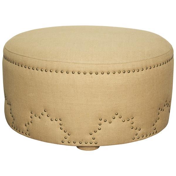 Burlap Upholstered Ottoman