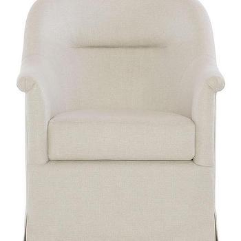 White Skirted Slipcovered Chair