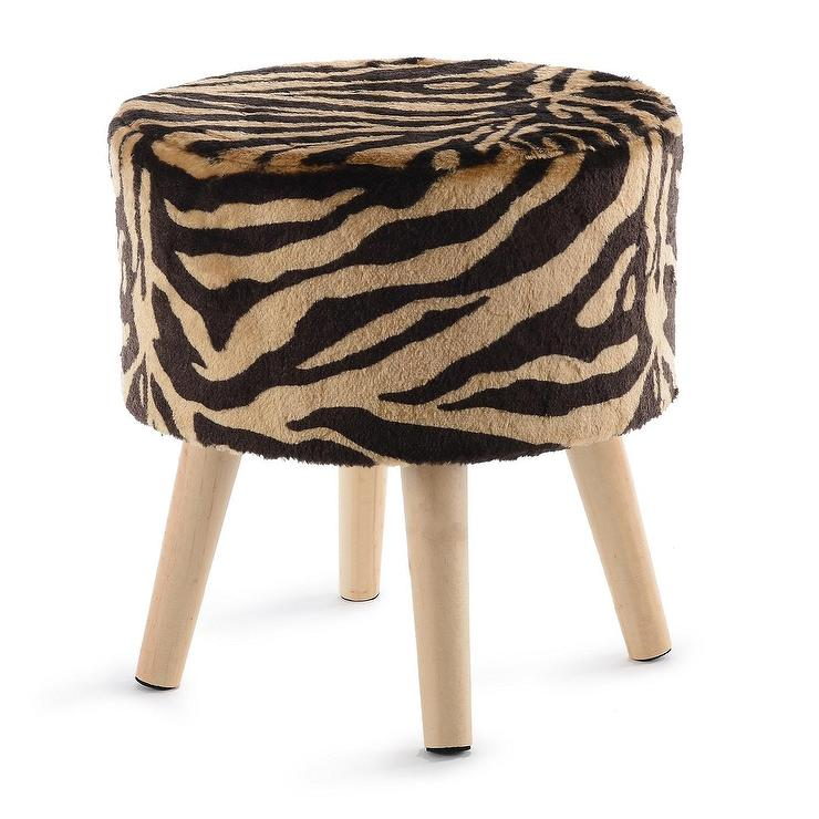 Prime Cheer Faux Fur Tiger Striped Wood Stool Cjindustries Chair Design For Home Cjindustriesco