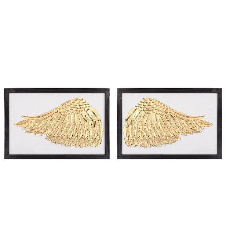Framed Gold Metal Wings Wall Decor