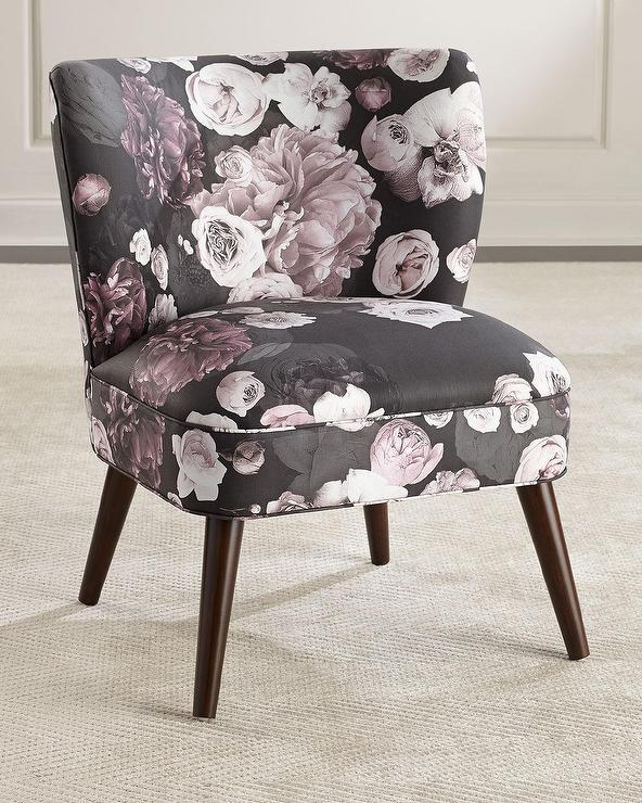 Floral Accent Chairs.Carmen Black Blush Floral Accent Chair