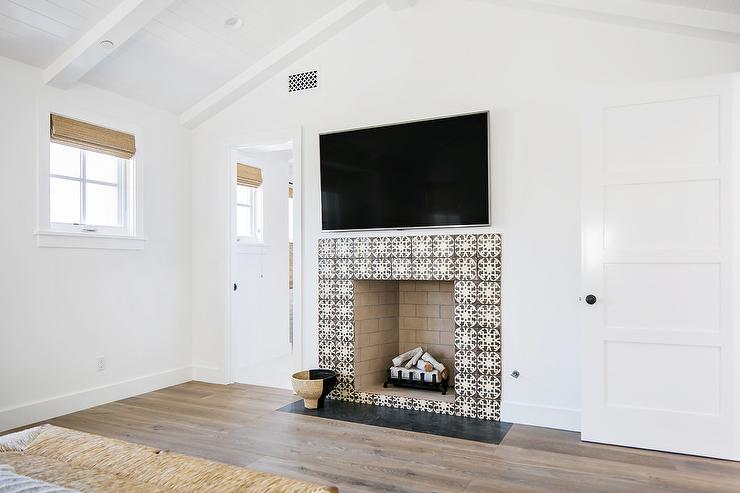 Black And White Mosaic Fireplace Tiles Transitional Bedroom