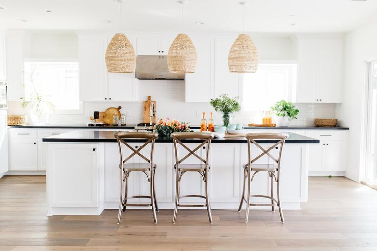 Bronze French X Back Counter Stools - Transitional - Kitchen