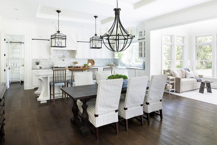 Thin Blue Striped Dining Chairs with Espresso Stained Table ...