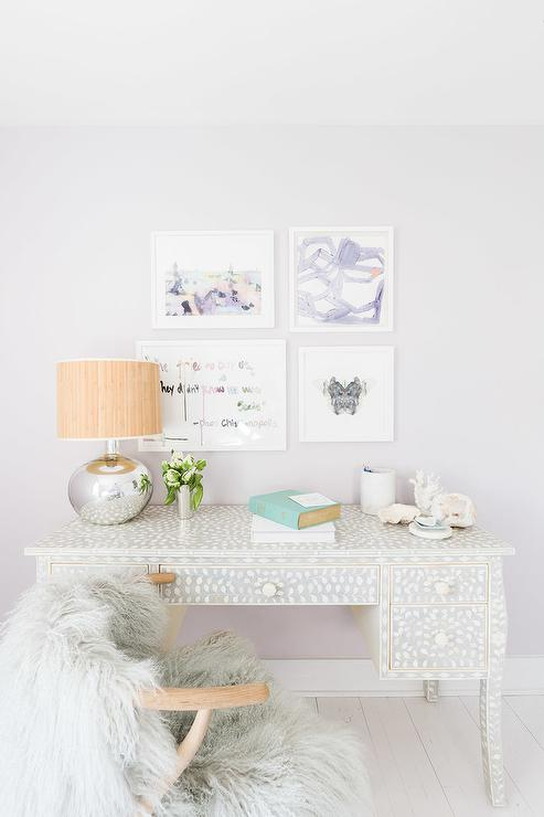 Transitional Girls Bedroom Designed By Raquel Garcia Featured Alyssa Rosenheck Boasts A Unique Black And White Bone Inlay Desk With Gray Sheepskin