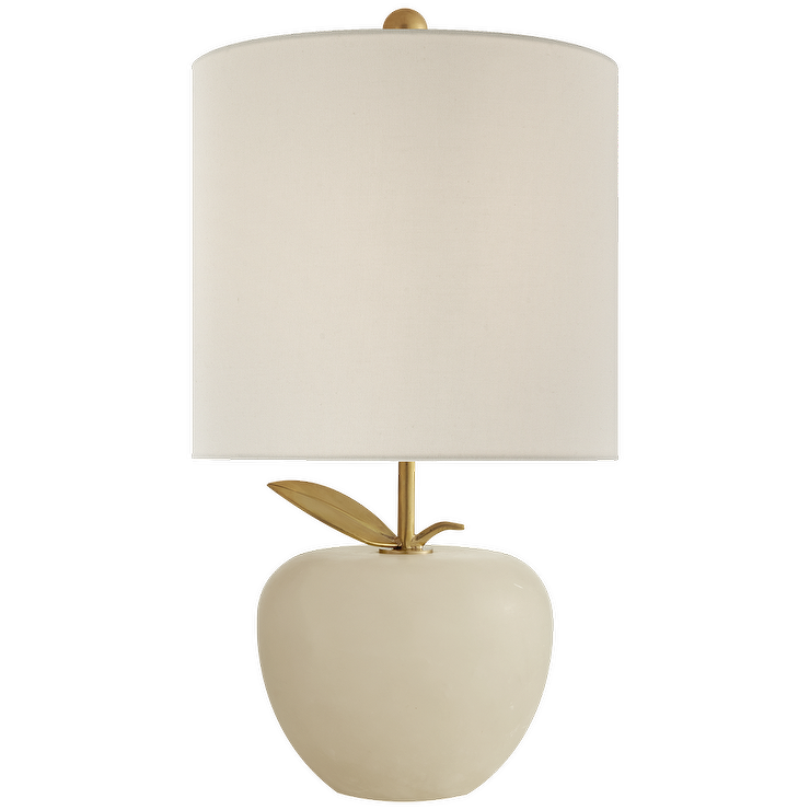 Kate Spade White Apple Orchard Brass Mini Lamp