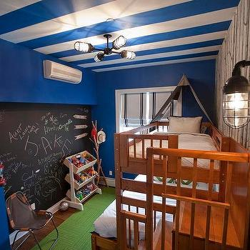Lily Z Design · Blue Striped Ceiling In Fun Boys Room