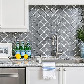 Charcoal Gray Moroccan Trellis Kitchen Backsplash Tiles