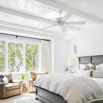 Gray Herringbone Tile Accent Wall Transitional Bedroom