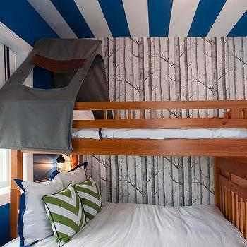 Lily Z Design · Blue Striped Ceiling Over Bunk Bed