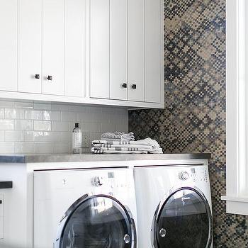 Gray and Blue geometric Laundry Room Tiles
