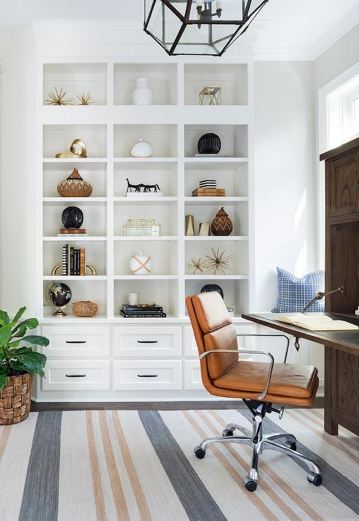 Attractive Modular Home Office Shelving With Stacked Drawers