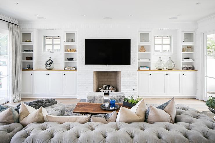 Restoration Hardware Soho Tufted Sectional Transitional Living Room