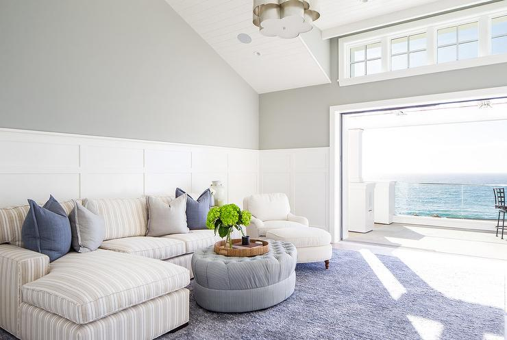Low Gray Sectional With Cb2 Smart Round Marble Top Coffee
