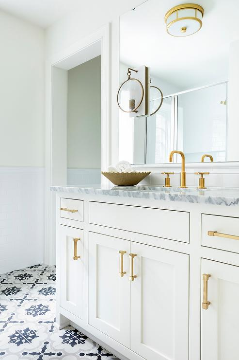 White Gold And Gray Bathroom Colors Transitional Bathroom