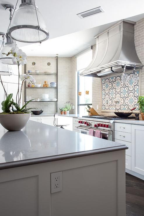 White Subway Tile Backsplash >> Turquoise Blue and Gray Quatrefoil Hand Painted Cement