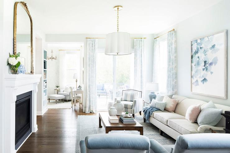 Tan Pink and Blue lIving Room Colors - Transitional - Living ...