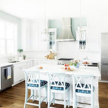 white kitchen accent colors. White Kitchen with Blue Accents With Accent Color Design Ideas
