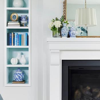 Living Room White And Blue Wall Niches Design Ideas